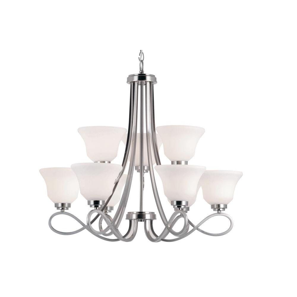 Stewart 9-Light White Incandescent Ceiling Chandelier with Marbleized Glass Shade