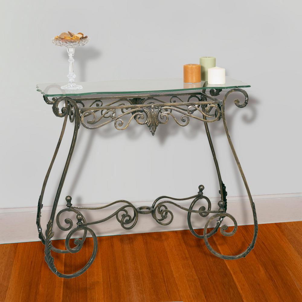 Rectangular Oil-Rubbed Bronze Leaf Console Table