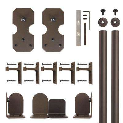 Notched Rectangle Oil Rubbed Bronze Rolling Door Hardware Kit for 1-1/2 in. to 2-1/4 in. Door