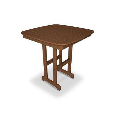 Nautical 37 in. Teak Plastic Outdoor Patio Counter Table