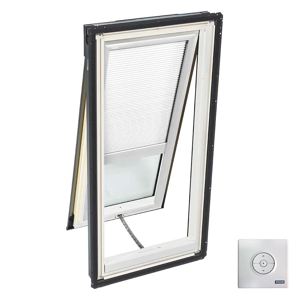 VELUX 30-1/16 in. x 45-3/4 in. Solar Powered Venting Deck-Mount Skylight w/ Laminated Low-E3 Glass, White Room Darkening Blind