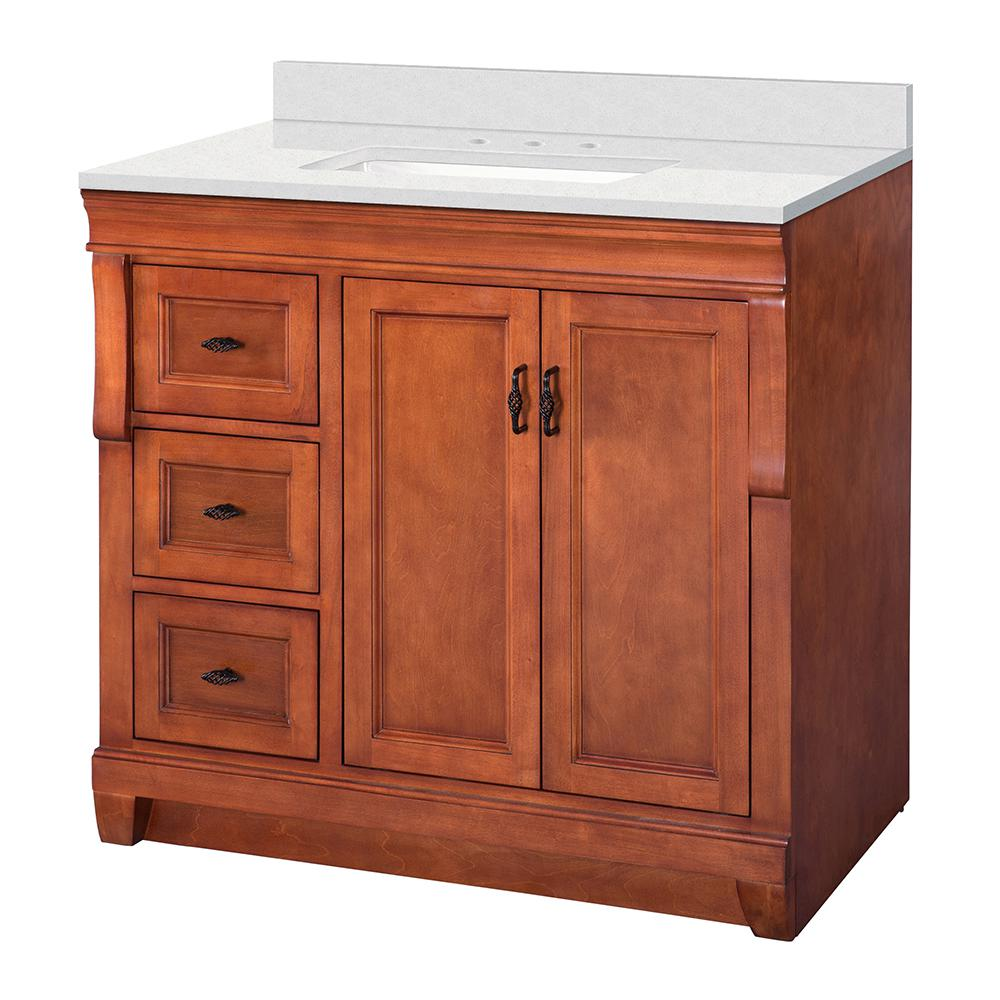 Home Decorators Collection Naples 37 in W x 22 in D Vanity Cabinet in Warm Cinnamon with Engineered Marble Vanity Top in Snowstorm with White Basin was $819.0 now $573.3 (30.0% off)