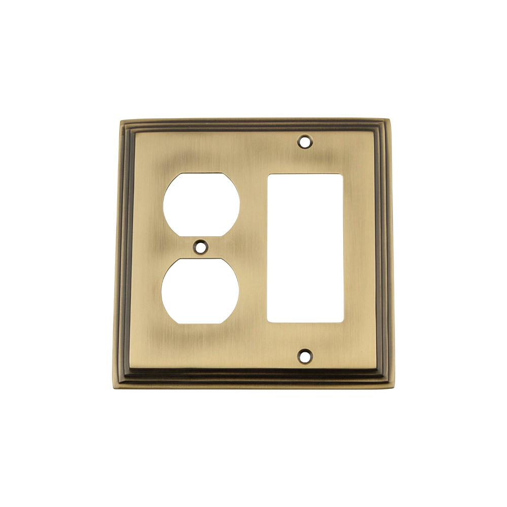 Nostalgic Warehouse Deco Switch Plate with Rocker and Outlet in ...