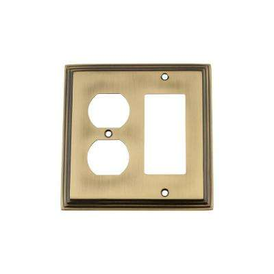 Deco Switch Plate with Rocker and Outlet in Antique Brass