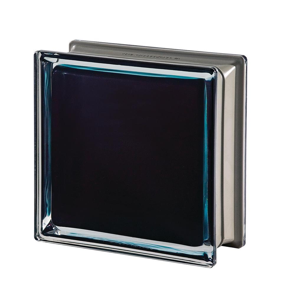Mendini Q19 Black 100% 7.48 in. x 7.48 in. x 3.15 in. Clear Pattern Glass Block (5-Pack)