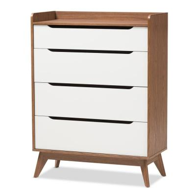Brighton 4-Drawer White and Brown Chest