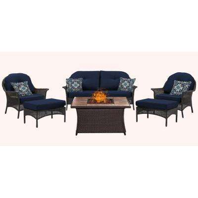 San Marino 6-Piece Metal Patio Seating Set with Tile-Top Fire Pit with Navy Cushions