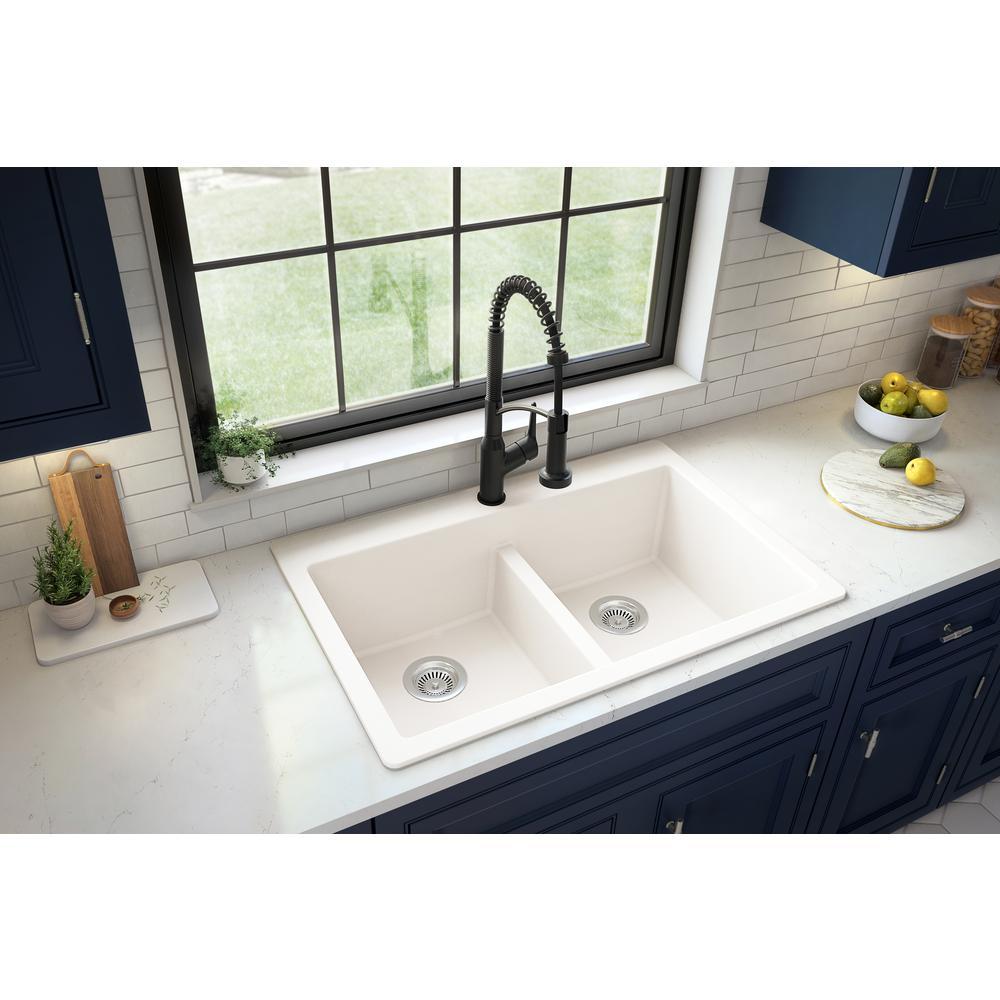 Karran White Quartz 33 in. 50/50  Double Bowl Composite Drop-in Kitchen Sink