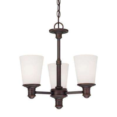 3-Light Rubbed Bronze Chandelier with Etched White Glass