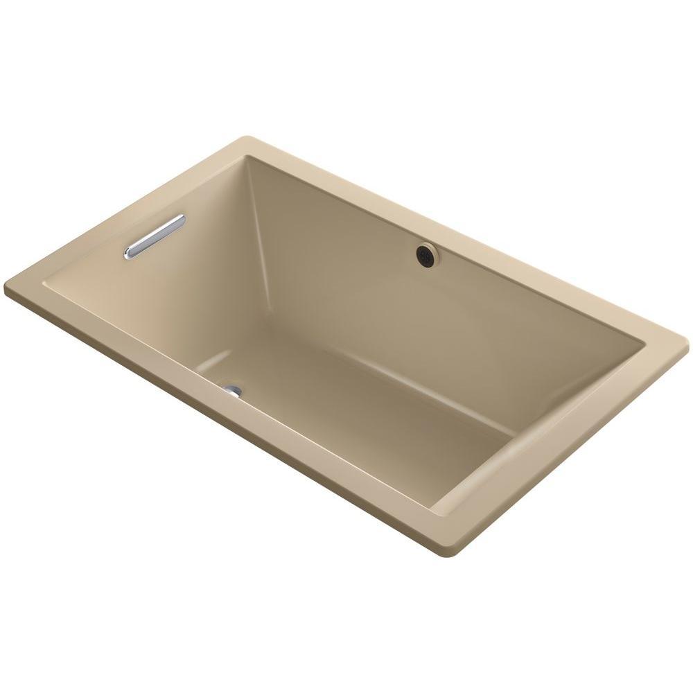 Kohler underscore 5 ft reversible drain rectangular for Deep alcove tub