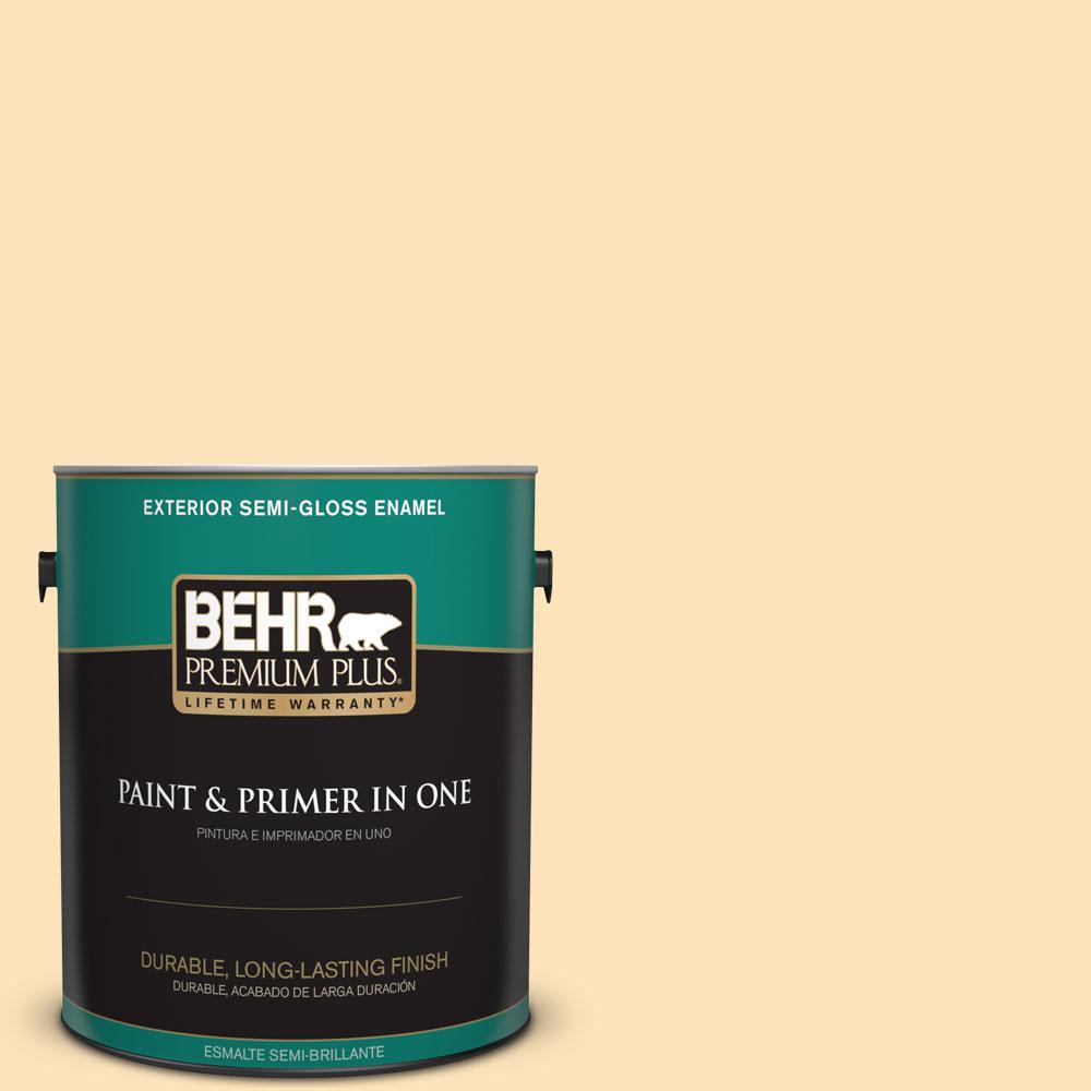 1-gal. #BIC-28 Butter Creme Semi-Gloss Enamel Exterior Paint