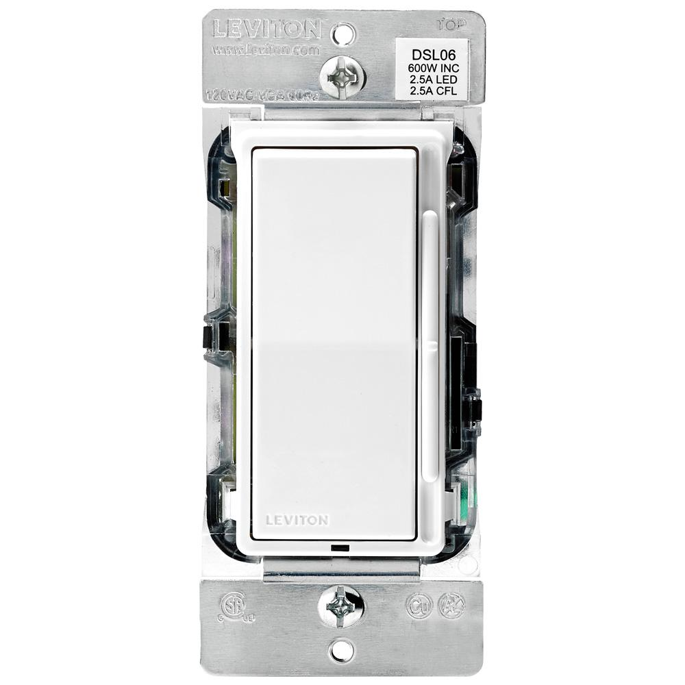 Leviton Decora 600-Watt Single-Pole/3-Way Universal Rocker Slide Dimmer, White/Light Almond