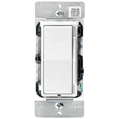 Decora 600-Watt Single-Pole/3-Way Universal Rocker Slide Dimmer, White/Light Almond