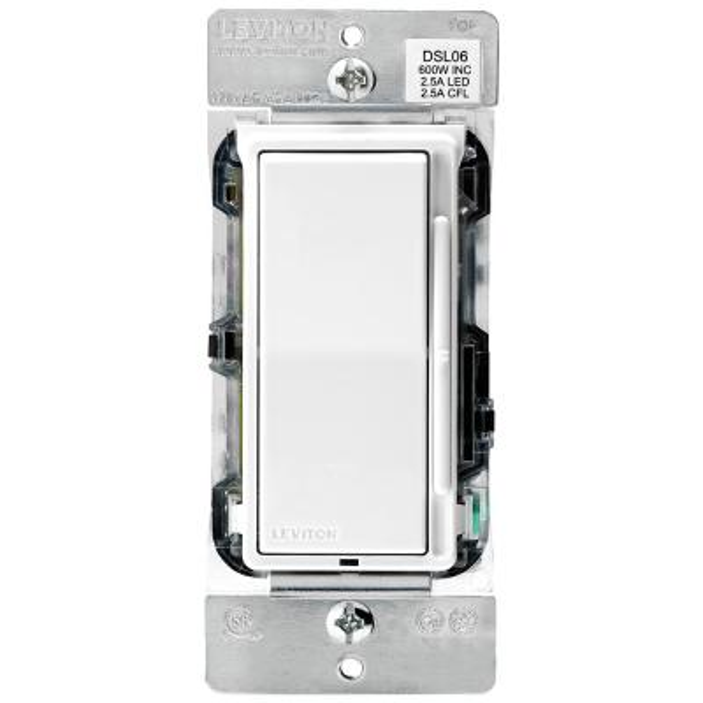 Decora 600-Watt Single-Pole/3-Way Universal Rocker Slide Dimmer, White/Light Almond, 10-Pack
