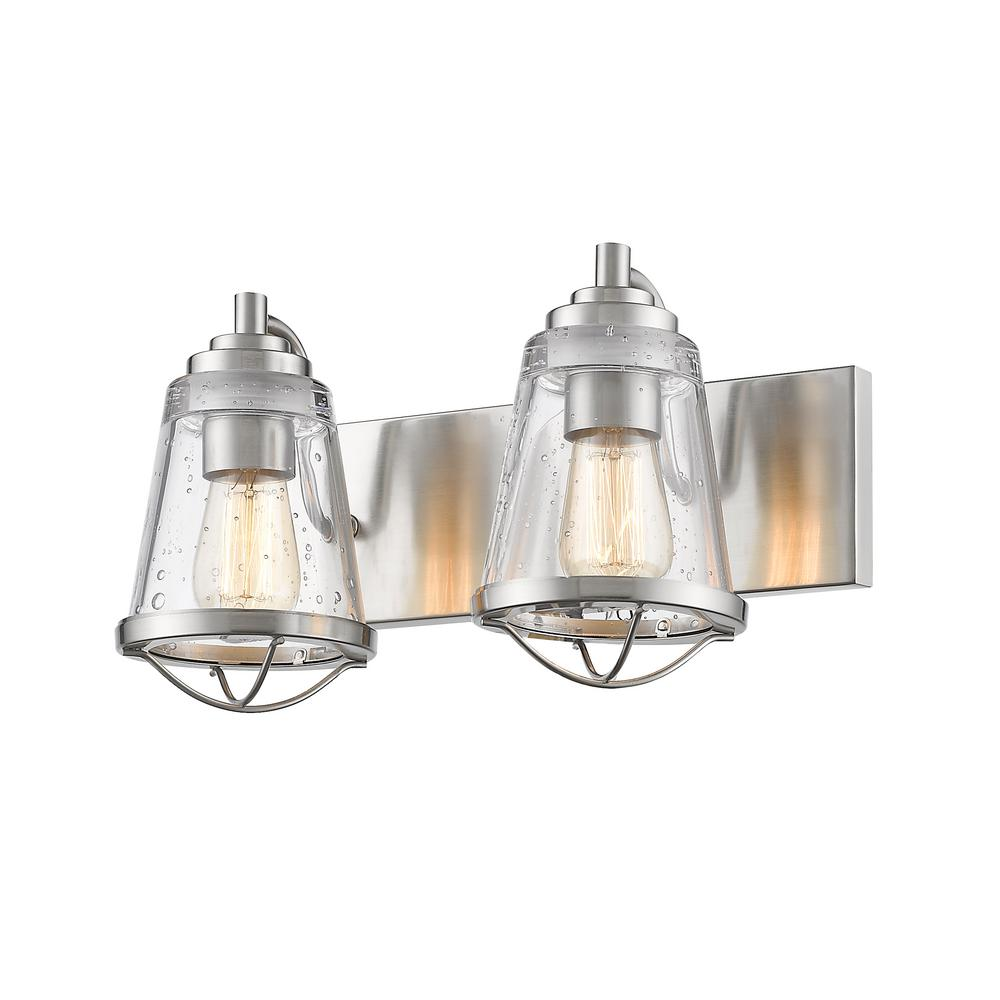 Lorinda 2 light brushed nickel bath light with clear seedy glass shade