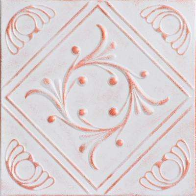 Diamond Wreath 1.6 ft. x 1.6 ft. Foam Glue-up Ceiling Tile in White Washed Copper