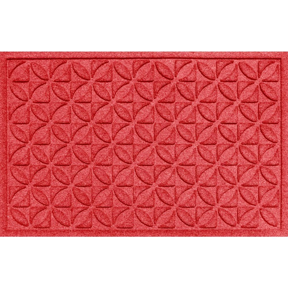 Plaid Solid Red 24 in. x 36 in. Polypropylene Door Mat