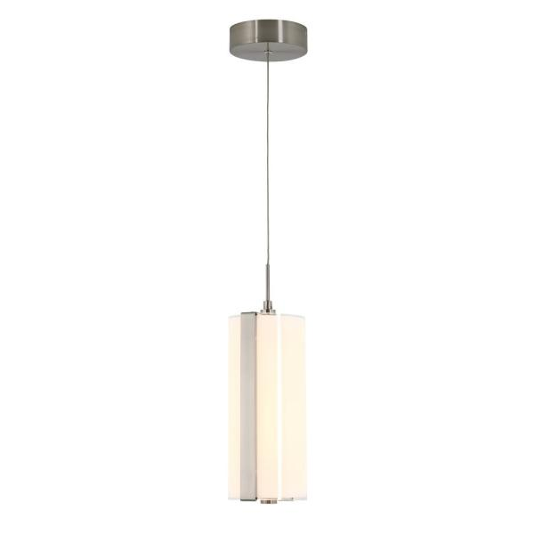 Subway Round 12-Watt Integrated LED Chrome Mini Pendant with Glass Shade
