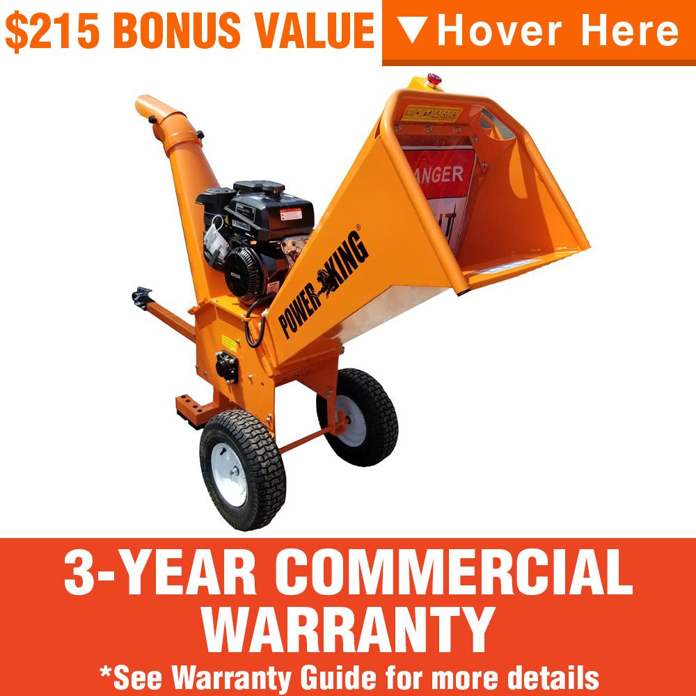 Power King 5 in. 14 HP Gas Powered Commercial Chipper Shredder Kit with Heavy-Duty Tires, Wheel Extension Set, & XL Trailer Hitch