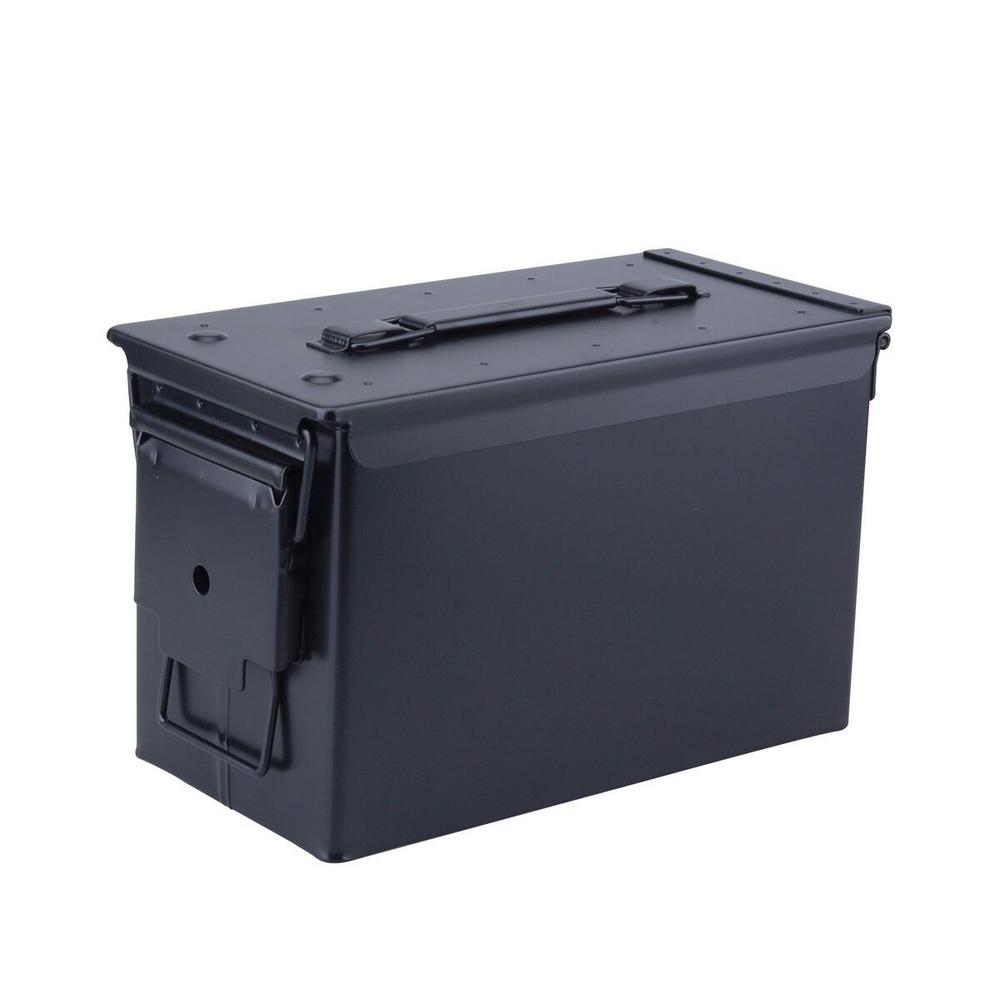 Military Grade 0.50 Cal Metal Tactical Ammo Storage Box in Black