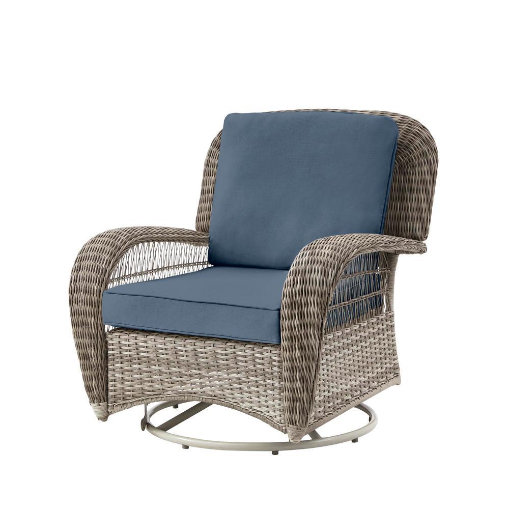 Beacon Park Gray Wicker Outdoor Patio Swivel Lounge Chair with Sunbrella Denim Blue Cushions