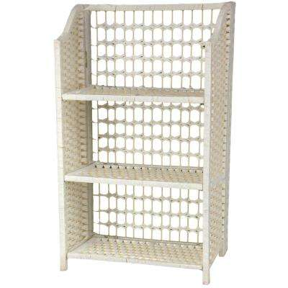 3-Shelf White Natural Fiber Shelving Trunk