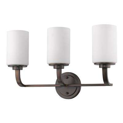Addison 3-Light Oil-Rubbed Bronze Vanity Light with Etched Glass Shades