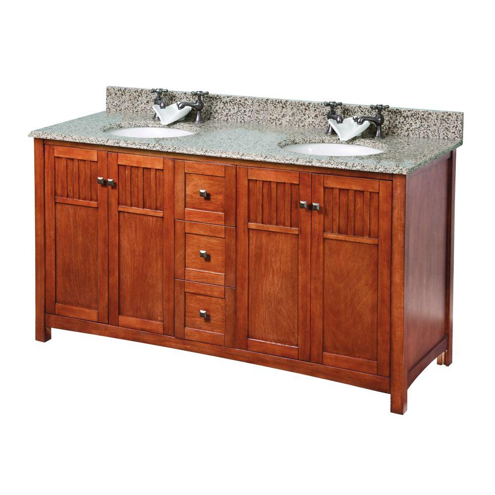Foremost Knoxville 61 in. W x 22 in. D Vanity in Nutmeg with Granite Vanity Top in Montesol with White Basin