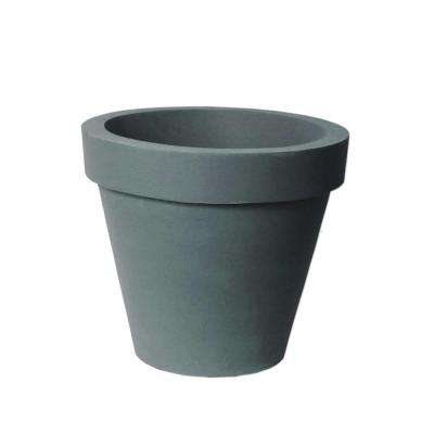 Classico 21 in. D x 17.3 in. Self-Watering CharcoalStone Plastic Planter