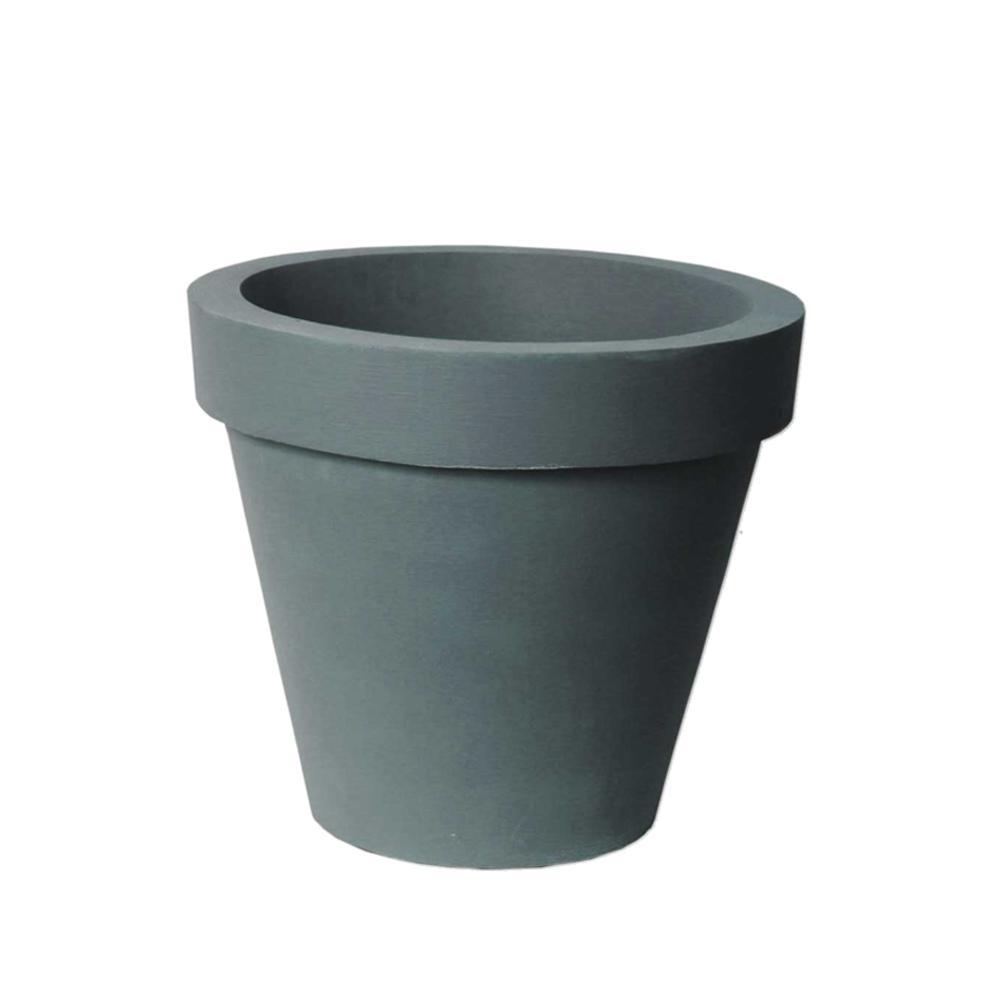 Classico 21 in. D x 17.3 in. Self-Watering CharcoalStone Plastic Planter
