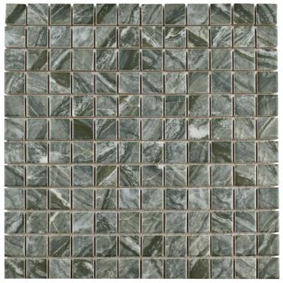 Nera Black 11-3/4 in. x 11-3/4 in. x 6 mm Porcelain Mosaic Tile