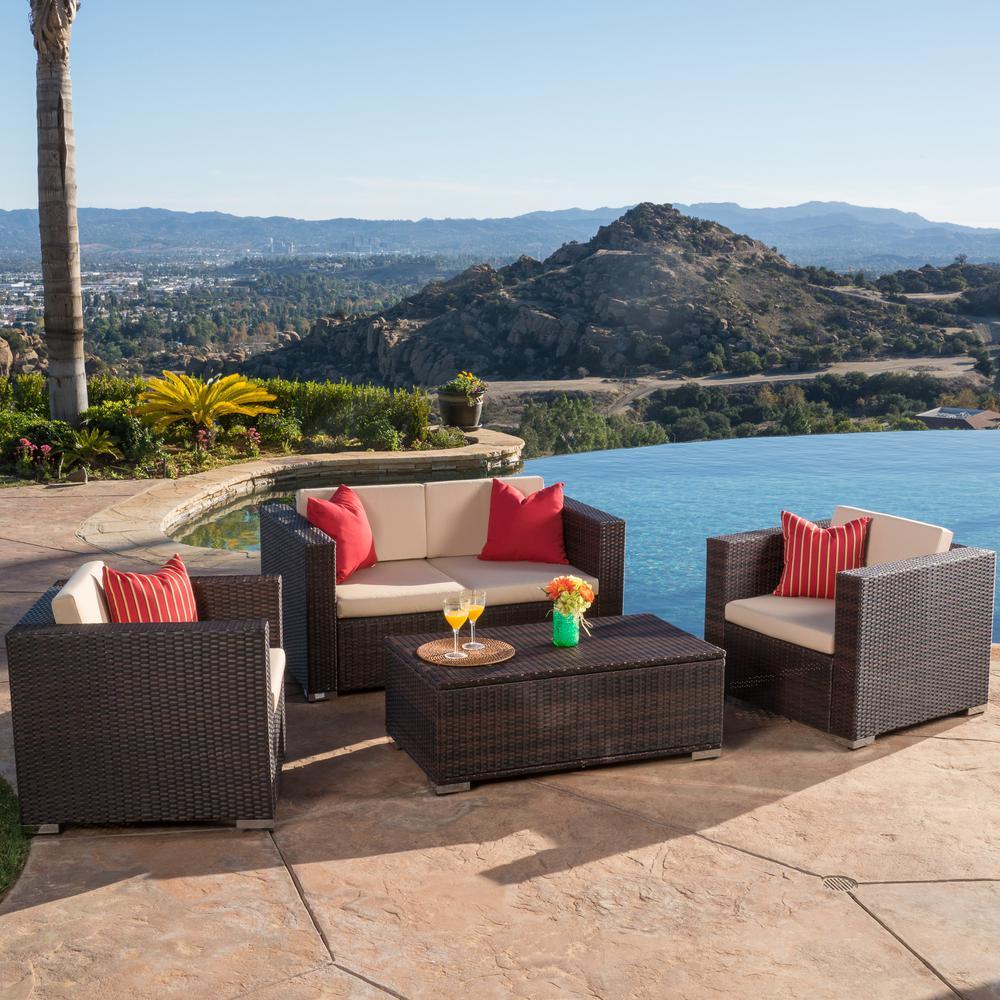 Murano Multibrown 4-Piece Wicker Patio Conversation Set with Beige Cushions