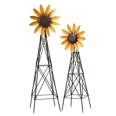 Assorted 69.3 in. Metal Spinning Sunflower Windmills (Set of 2)