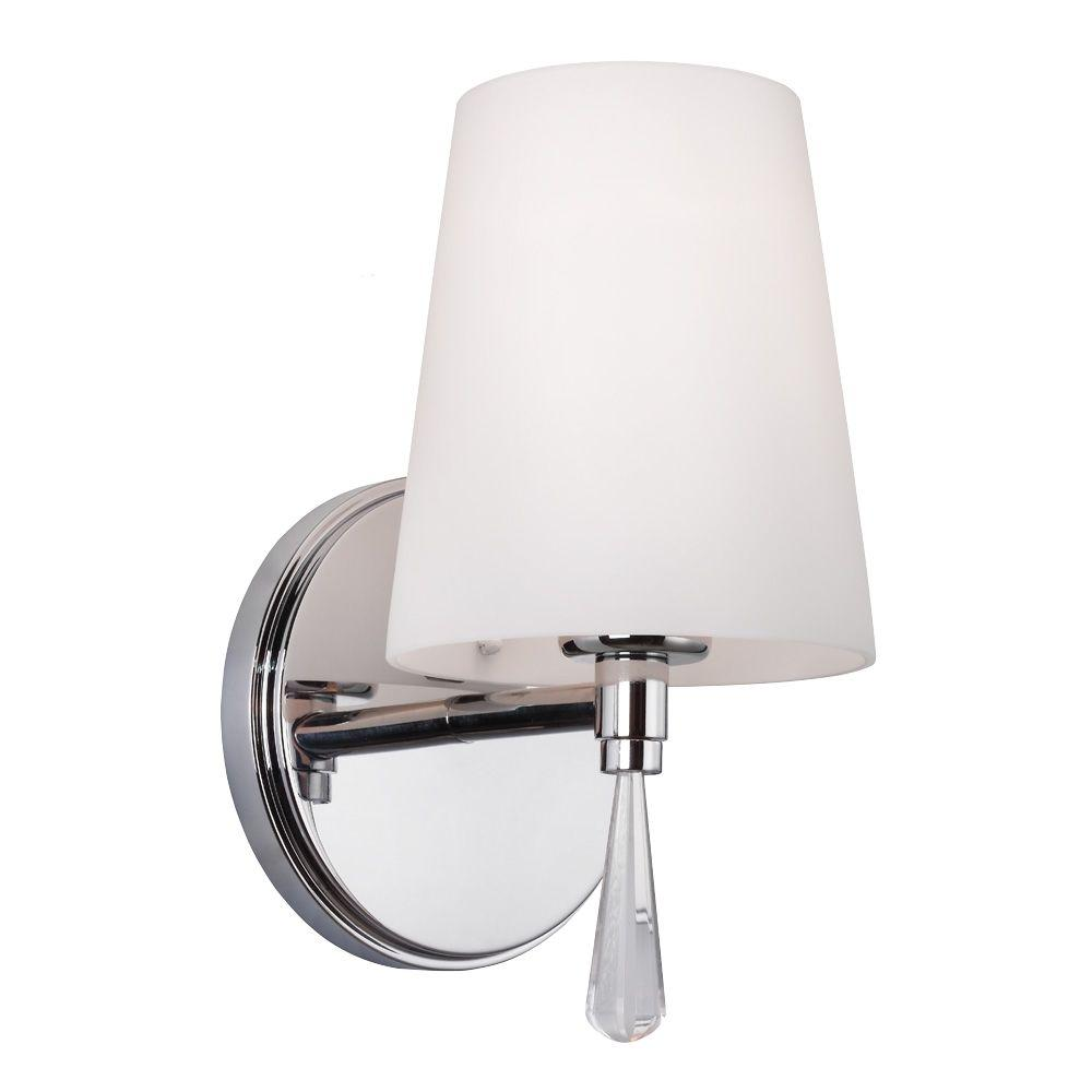 Feiss Monica 5.375 in. W 1-Light Chrome Wall Sconce with Optional Crystal Water Drop Accent Detail and Opal Glass Shade