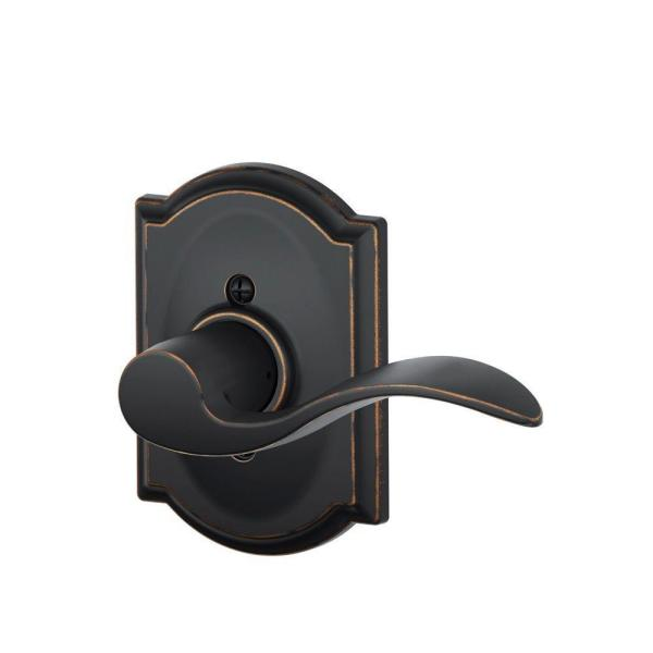 Accent Aged Bronze Right Handed Dummy Door Lever with Camelot Trim