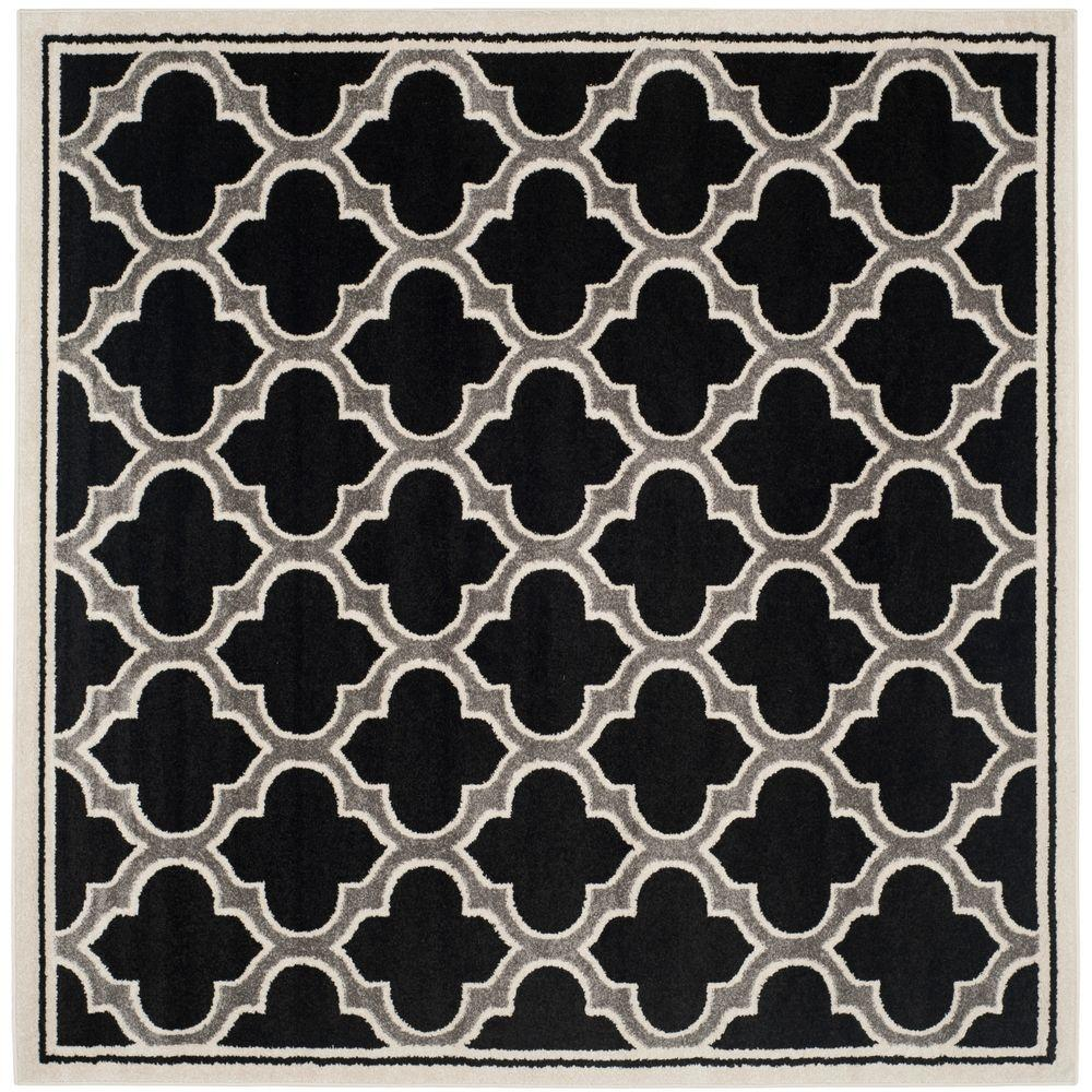 Safavieh Amherst Anthracite/Ivory 7 ft. x 7 ft. Indoor/Outdoor Square Area Rug