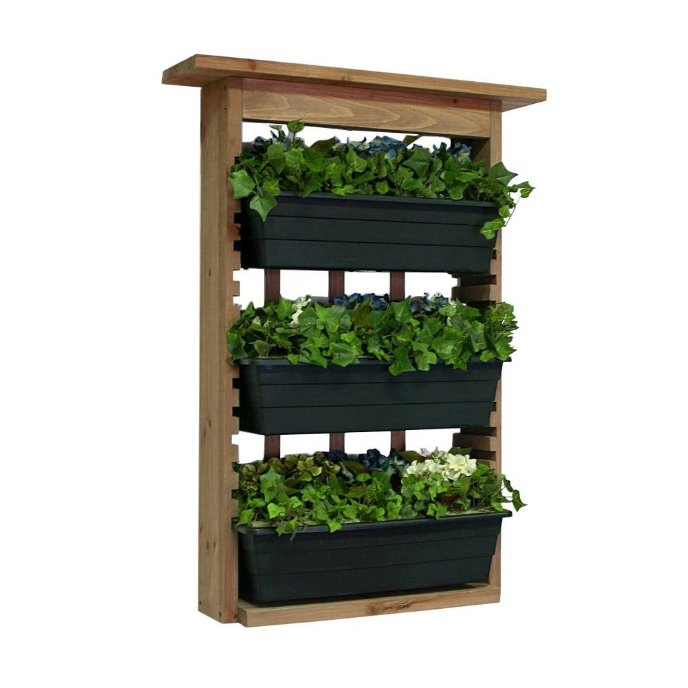 Algreen 6 in. Wood Garden View Vertical Garden with 3 Planters-34002 ...