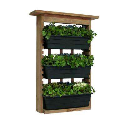 6 in. Wood Garden View Vertical Garden with 3 Planters