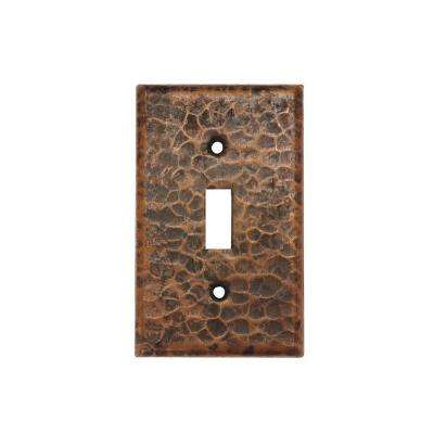 1 Gang Hammered Copper Single Toggle Switch Plate, Oil Rubbed Bronze (Quantity 2)