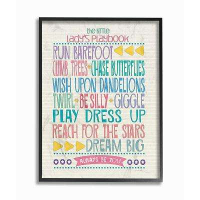 "11 in. x 14 in. ""The Little Lady's Playbook Typography Art"" by Jo Moulton Wood Framed Wall Art"