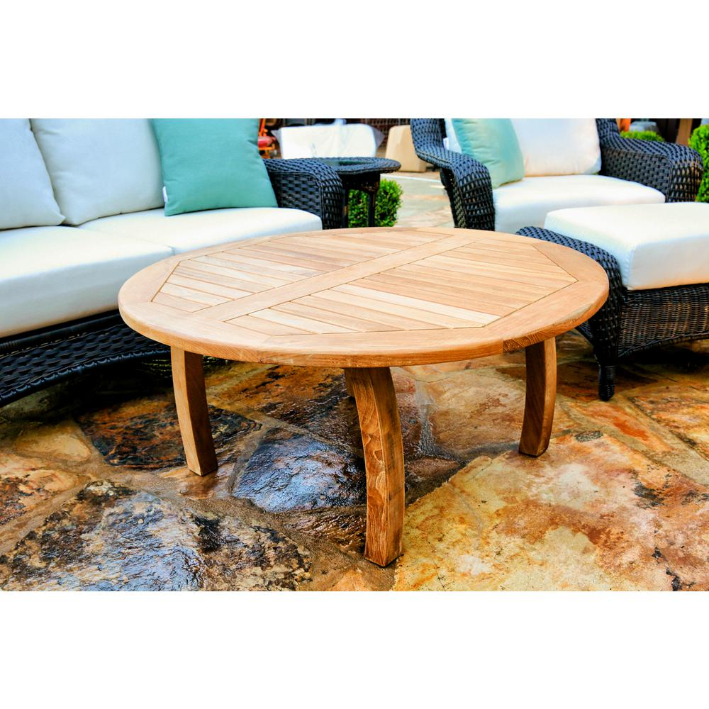 Round teak outdoor coffee table