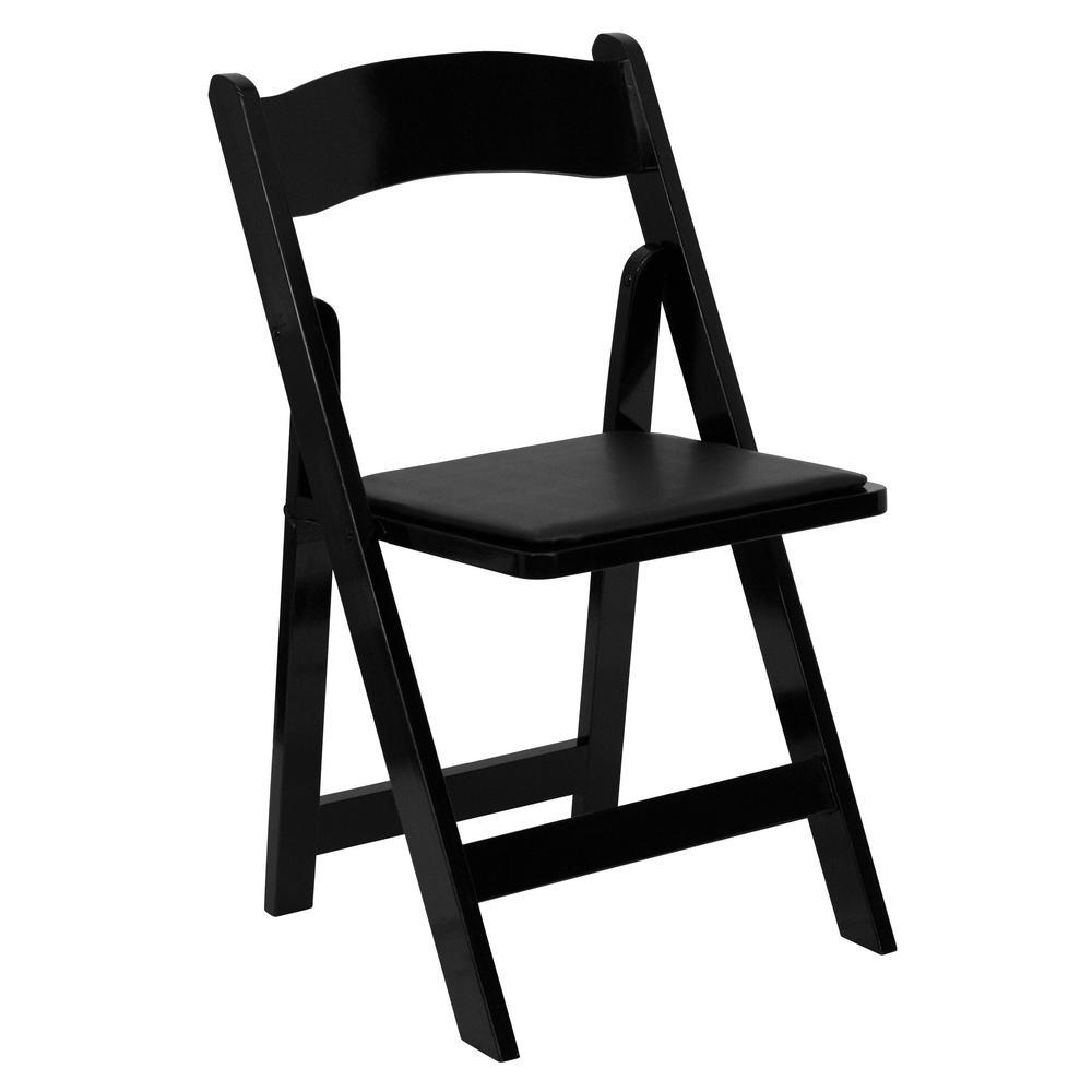 Flash Furniture Hercules Series Black Wood Folding Chair with Vinyl Padded Seat