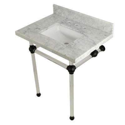 Square Sink Washstand 30 in. Console Table in Carrara Marble with Acrylic Legs in Matte Black