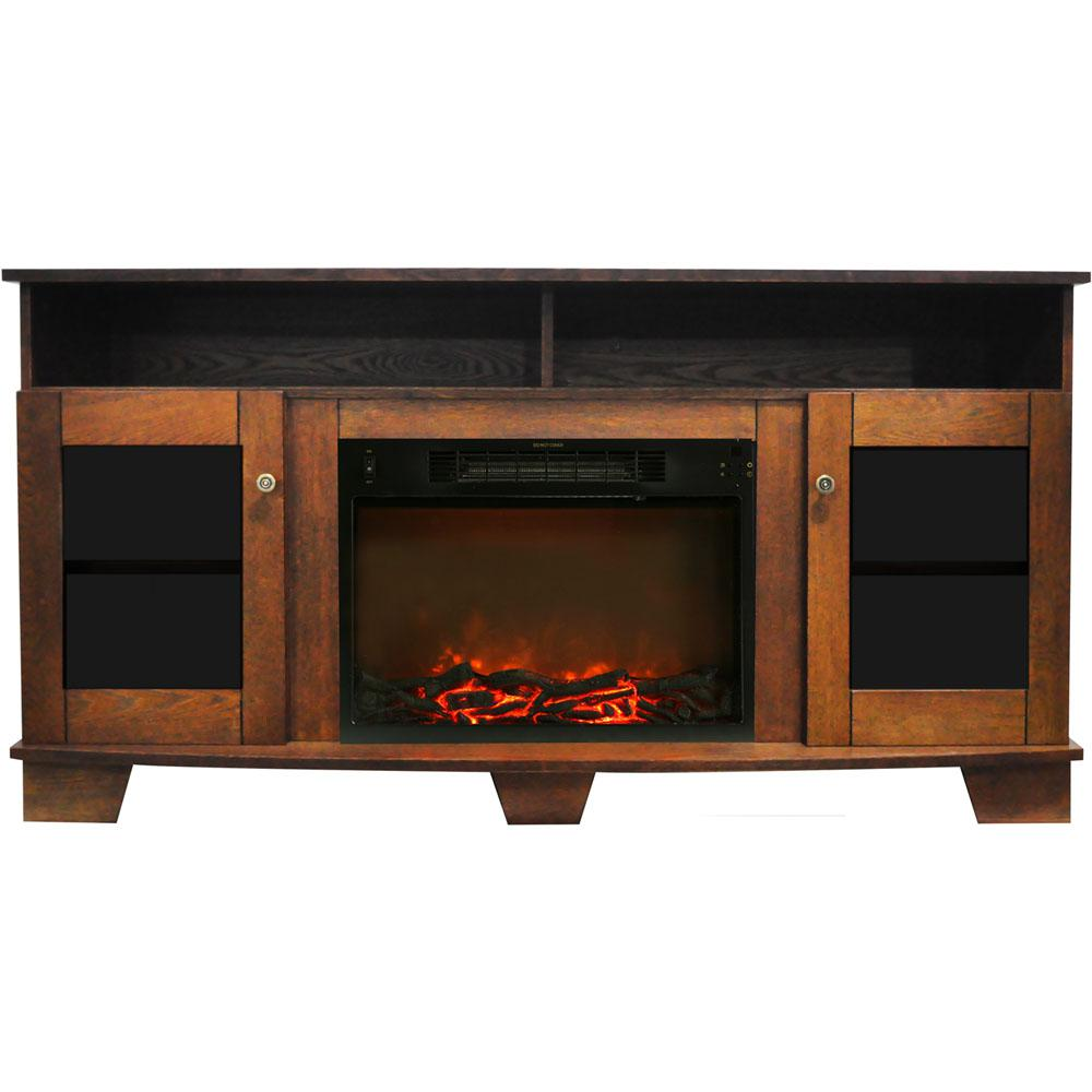 Savona 59 in. Electric Fireplace in Walnut with Entertainment Stand and