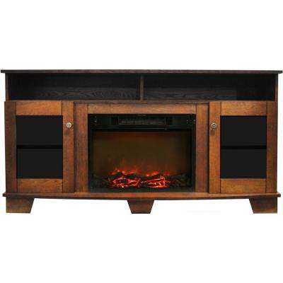 Savona 59 in. Electric Fireplace in Walnut with Entertainment Stand and Charred Log Display