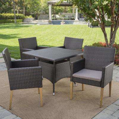 Barnett Multi-Brown 5-Piece Wicker Outdoor Dining Set with Mocha Cushions