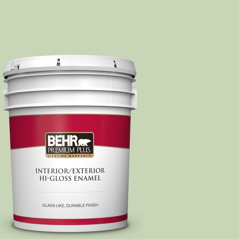 Behr Premium Plus 5 Gal M370 3 Spice Garden Hi Gloss Enamel Interior Exterior Paint 805005 The Home Depot