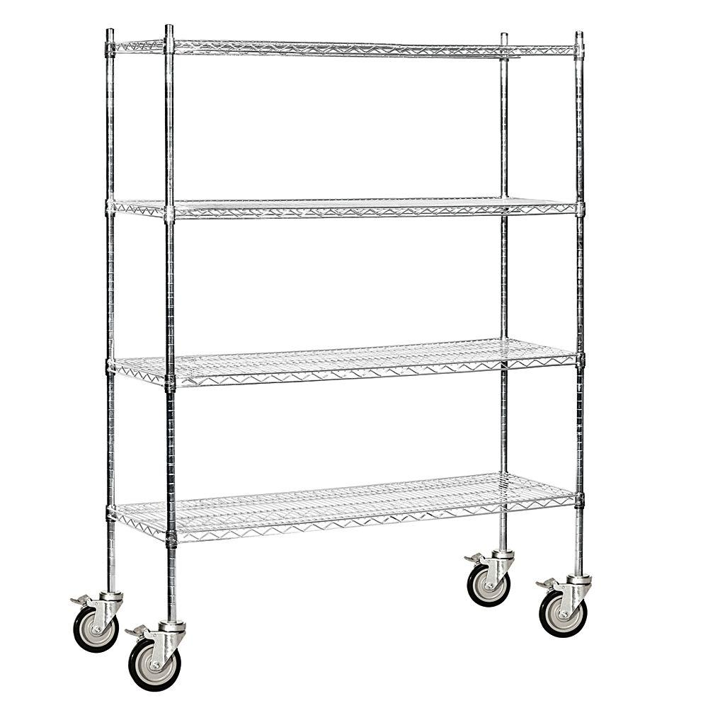 Salsbury Industries 9600M Series 60 in. W x 80 in. H x 18 in. D Industrial Grade Welded Wire Mobile Wire Shelving in Chrome