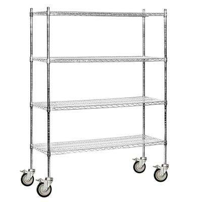 9600M Series 60 in. W x 80 in. H x 18 in. D Industrial Grade Welded Wire Mobile Wire Shelving in Chrome