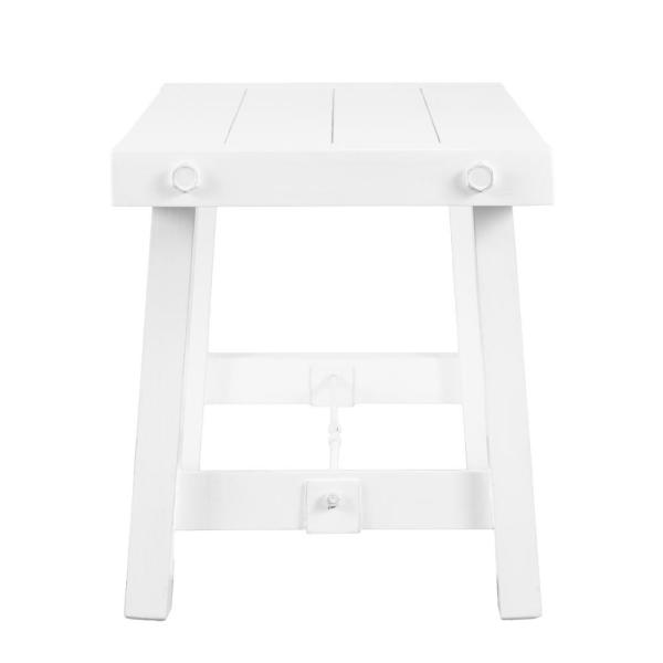 Southern Enterprises Pinsley Distressed White Farmhouse Style Entry/Dining Bench
